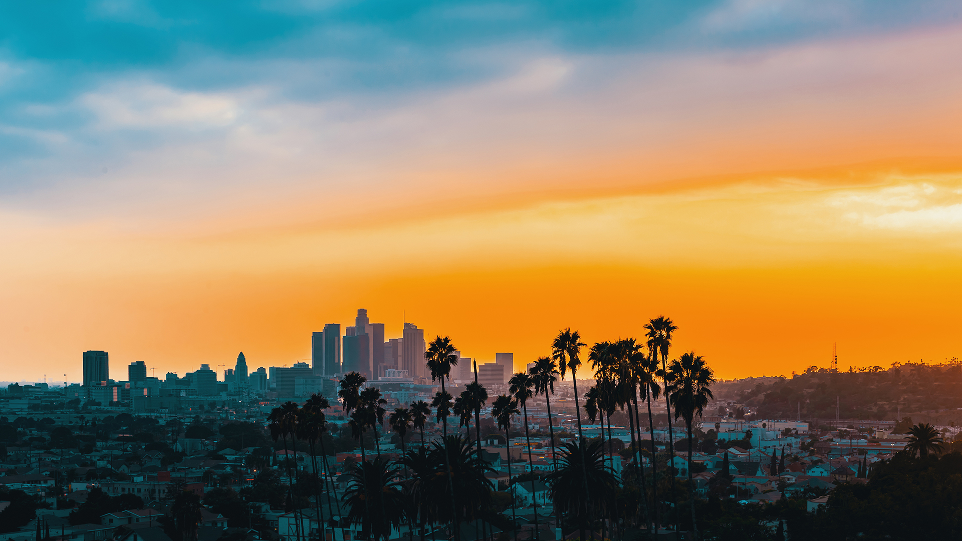 Sunset over downtown L.A.